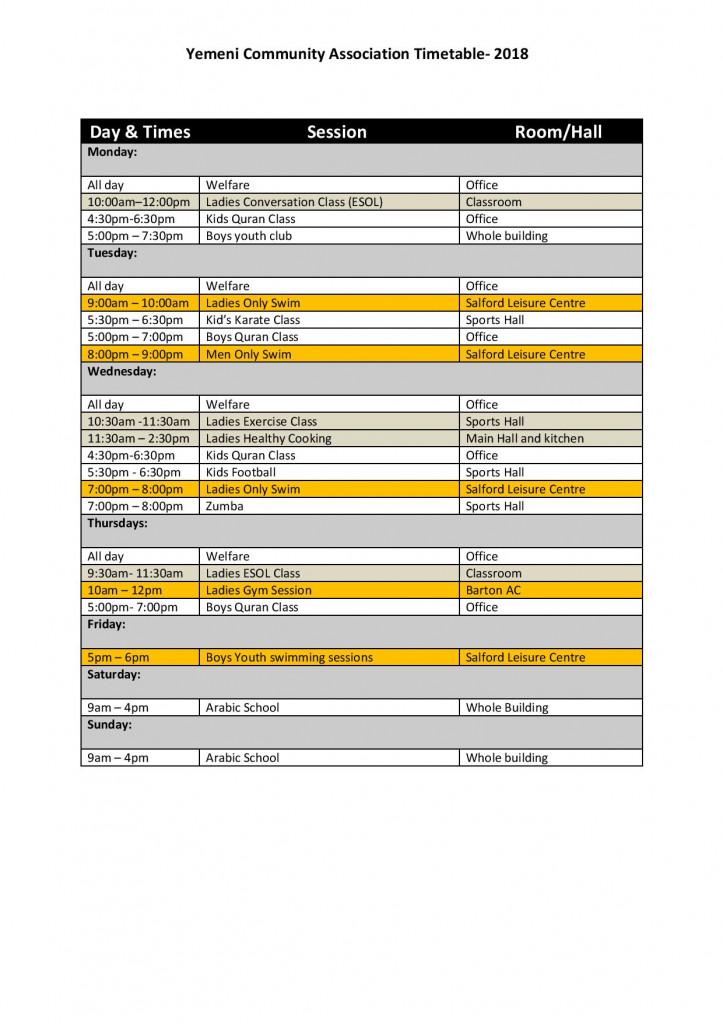 YCA Timetable 2018
